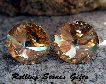 Golden Shadow 12mm Swarovski Rivoli Rhinestone Stud Earrings-Golden Shadow Crystal Studs-Large Rivoli Studs-Large Gold Studs