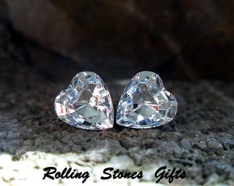 Crystal Color 10x9mm Swarovski Heart Rhinestone Stud Earrings-Crystal Heart Studs-Large Heart Studs-April Birthstone
