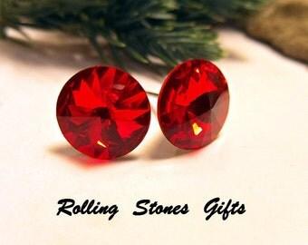 Light Siam Swarovski 10.5mm Rivoli Rhinestone Stud Earrings-Bright Red Crystal Studs-Medium Red Crystal Studs-Christmas Red Medium Studs