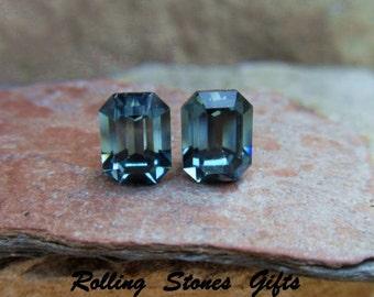 Indian Sapphire 8x6mm Swarovski Octagon Rhinestone Stud Earrings-Sapphire Studs-Blue Studs-Handmade Studs