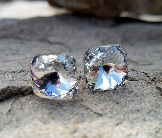 Crystal Color 8mm Swarovski Square Rivoli Rhinestone Stud Earrings.Wedding Studs-Crystal Studs-Handmade Studs
