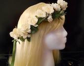 Flower Crown Wreath White Rose Wedding White Flower Girl Boho Bride Bridal Hair Headpiece First Communion Spring Summer Angel Halo Circlet