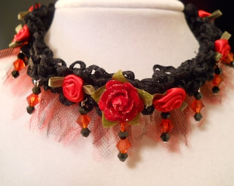 Red Rose Black Choker Victorian Edwardian Christmas Holiday Gift Goth Gift Red Rose Gothic Valentines Day Gift Steampunk Fairy French Lolita