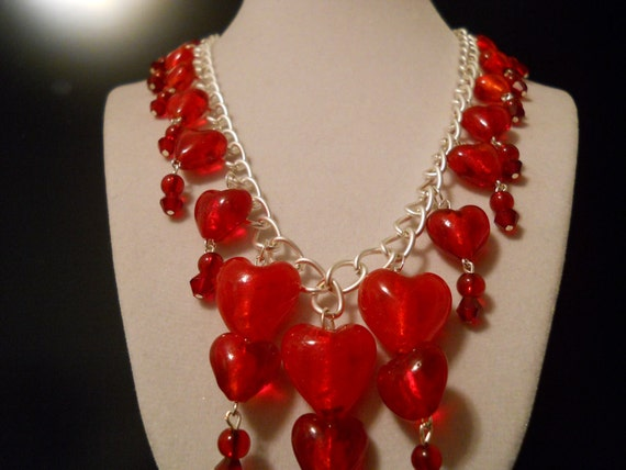 Statement or Bib Necklace for Valentines Day, Red, Lampwork, Hand Blown Glass, Heart of Glass, Bleeding Hearts, Crystals on a Silver Chain
