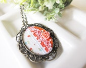 Necklace - Vintage Gold Cameo, Fabric Collage, Orange Polka Dot Fabric, Rose and Lace OOAK (SNL03)