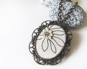 Necklace - Vintage Gold Cameo, Grey Floral Fabric with Lace OOAK (SNL13)