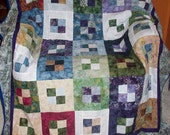 Blue Green Patchwork Quilt for Lap or Sofa