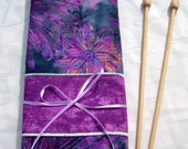 Knitting Needle Case with Purple Flowers