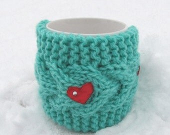 Christmas Coffe Cozy,Red heart Mug Cozy, Cup Cosy, Mug Warmer knitted, aquamarine color,valentines gift Will fit standard size mug