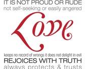 Contemporary Scripture Printables Art Love is Patient 1 Corinthians 13:4-8