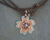 Knotted Leather & Metal Flower Necklace