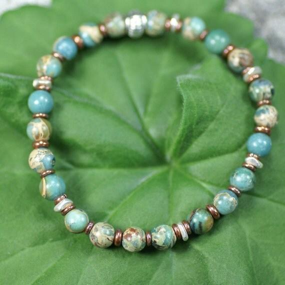 African Blue Opal & Copper Elastic Bracelet