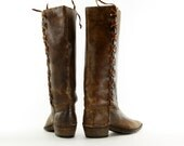 Reserved..Boho Bombshells: Sweetly Distressed Riding Boots. Braided Leather Straps & Stitched Leather Soles. Size - Womens VTG US 9 M