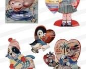 Childrens Valentine Animals Cute Clip Art Vintage Images jpg png pdf DIY Print Digital Collage Sheet Instant Download CA03