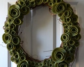 Natural Felt Flower Wreath Fully Covered (Multiple Colors)