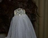 Gorgeous White Shimmer Bridal Veil with Rhinestone Embellishment