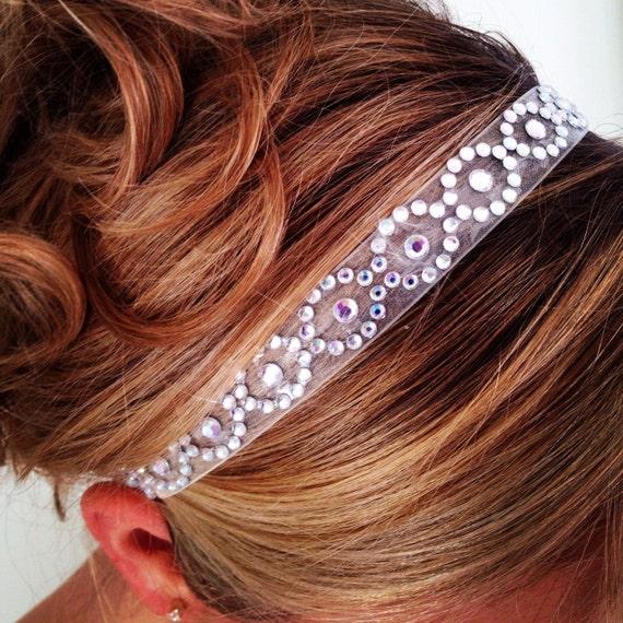 Whimsical Organza Bridal Headband with Rhinestone Accents