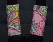 New handmade car seat strap covers - Pink Paisley