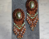 Bead embroidered earrings - Turquoise