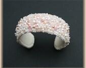 Bead embroidered bridal cuff, wedding bracelet, bridal bracelet, white cuff, pearl cuff, pearl bracelet