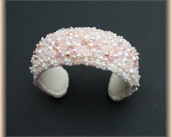 Bead embroidered bridal cuff, wedding bracelet, bridal bracelet, white cuff, pearl cuff, pearl bracelet