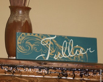 "8""x24"" Personalized Family Name Wood Sign - custom wood sign, hand painted and distressed"