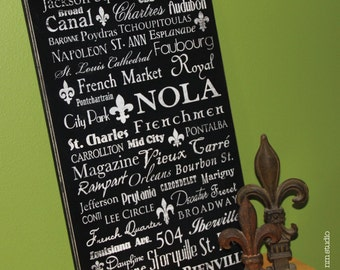 "15""x24"" NOLA - New Orleans Louisiana handmade wood subway street sign fleur de lis distressed"