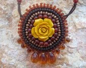 Autumn Fall - women necklace, hand embroidered on ultra suede fabric with stone, wooden and Japanese glass beads - handmade in Israel