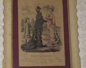 Antique Framed French Fashion Print Lithograph Journal Des Demoiselles Aout 1878