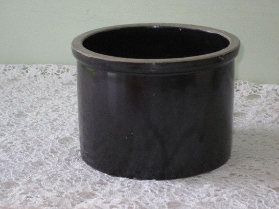 Reserved  Antique Dark Brown Glazed Stoneware Crock Old Primitive