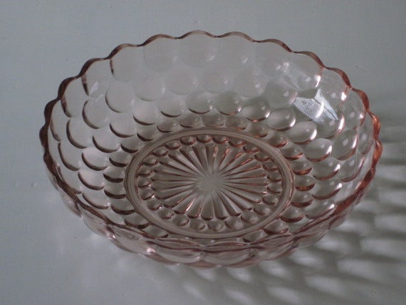 Fire King Pink Depression Glass BUBBLE Serving Bowl Anchor Hocking
