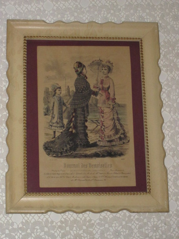 Antique Framed French Fashion Print Lithograph Journal Des Demoiselles Aout 1878