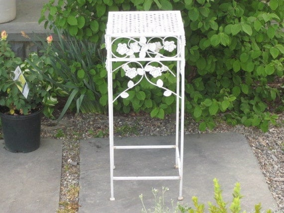 Vintage White Metal Plant Stand Table With Curvy By