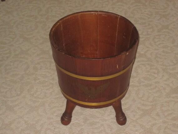 Large Vintage 3 Leg Wood Barrel Planter Pail Bucket