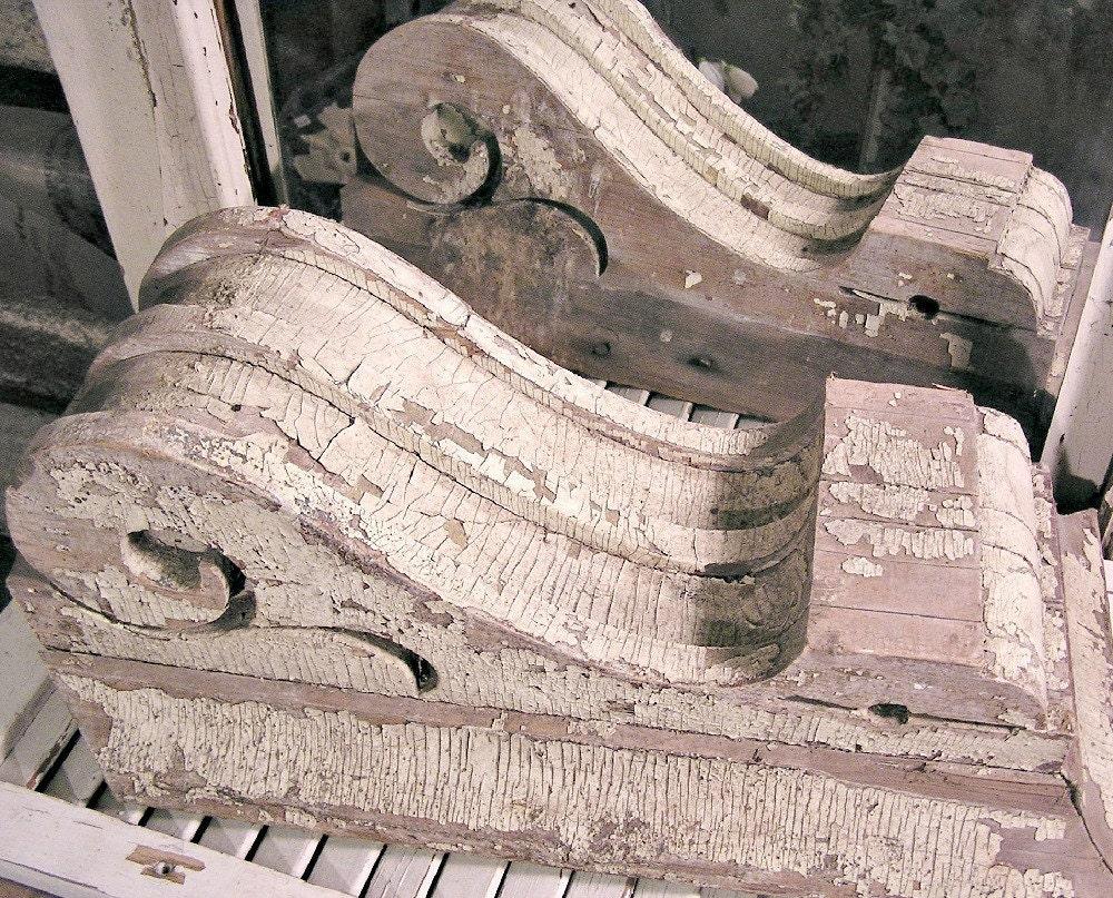 set of 2 antique corbels vintage wood brackets architectural