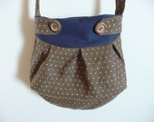 Brown polka dot linen and cotton purse with buttons