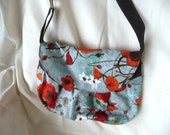 Pleats and poppies- small purse with flap and long strap