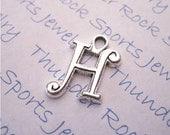Antique Silver Plated Curlz Letter H Alphabet Initial Charms Pendants