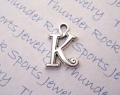 3 Antique Silver Plated Curlz Letter Alphabet Initial Charms Pendants