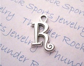 Antique Silver Plated Curlz Letter R Alphabet Initial Charms Pendants