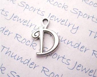 Antique Silver Plated Curlz Letter D Charms Pendants Alphabet Initial