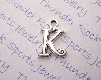 Antique Silver Plated Curlz Letter K Alphabet Initial Charms Pendants