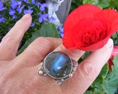 Large Round Labradorite and Sterling Cocktail Ring