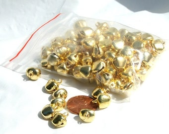 Bells 100 pieces 10mm Gold Color Steel Jewelry Craft Supply ringing holiday bells  craft supplies charms