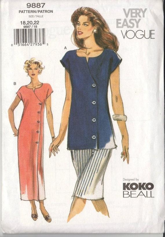 Plus Size Vogue Sewing Pattern Tunic Skirt Dress SZ 18 20 22 New Uncut