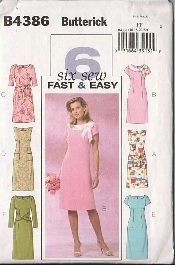 Plus Size Dress Sewing Pattern Simple Sophisticated Size 16-22 Uncut