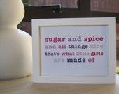 Sugar and Spice 'Pink' - Girls Nursery Wall Art