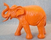 Orange Elephant - Neon Nursery Decor - Orange Animal Statue - Elephant Nursery Decor - Elephant Bookshelf Decor - Orange Home Decor