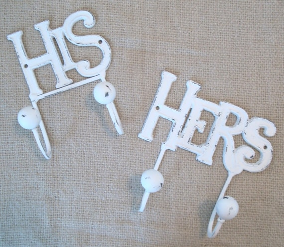 His and hers wall hooks shabby chic bathroom decor towel for His hers bathroom decor