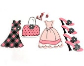 Reserve /BRADS / Scrapbook Card Mixed Media Art Supplies / Purse Dress Shoe / Pink and Black / French